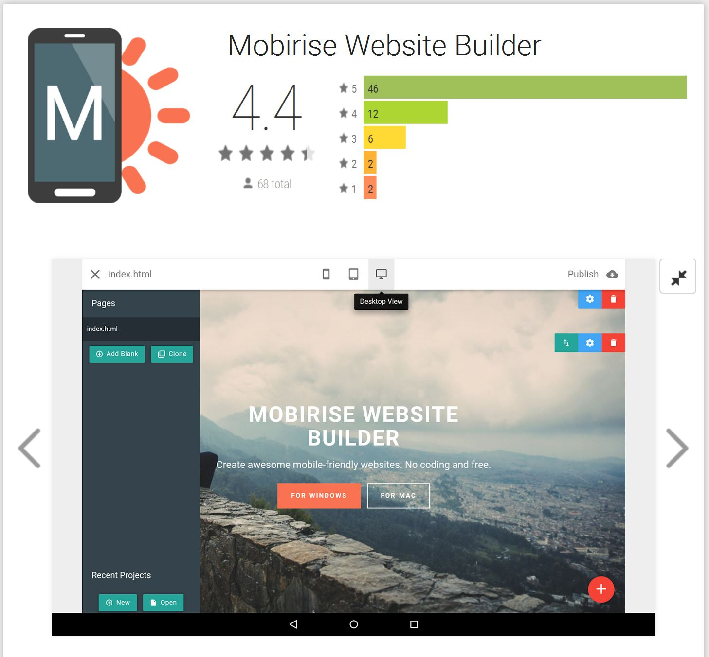 mobirise free website builder software entire tips page