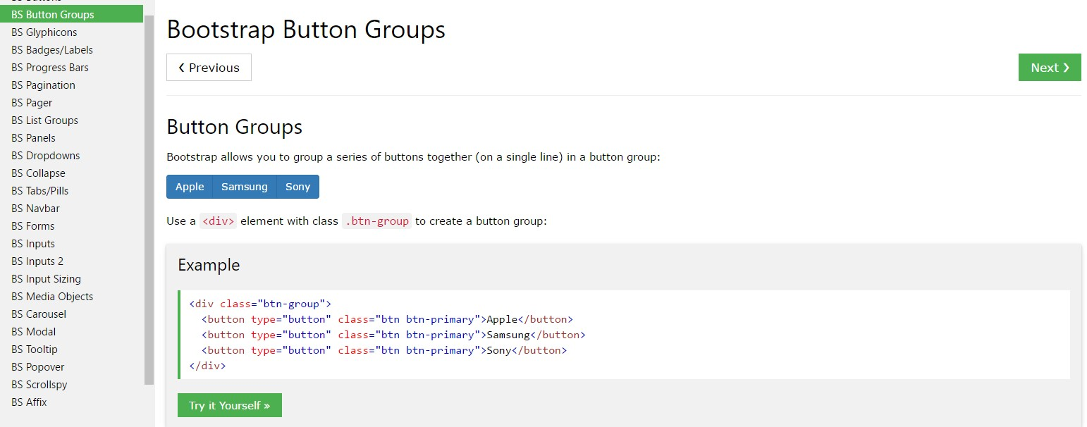 Bootstrap button group  short training