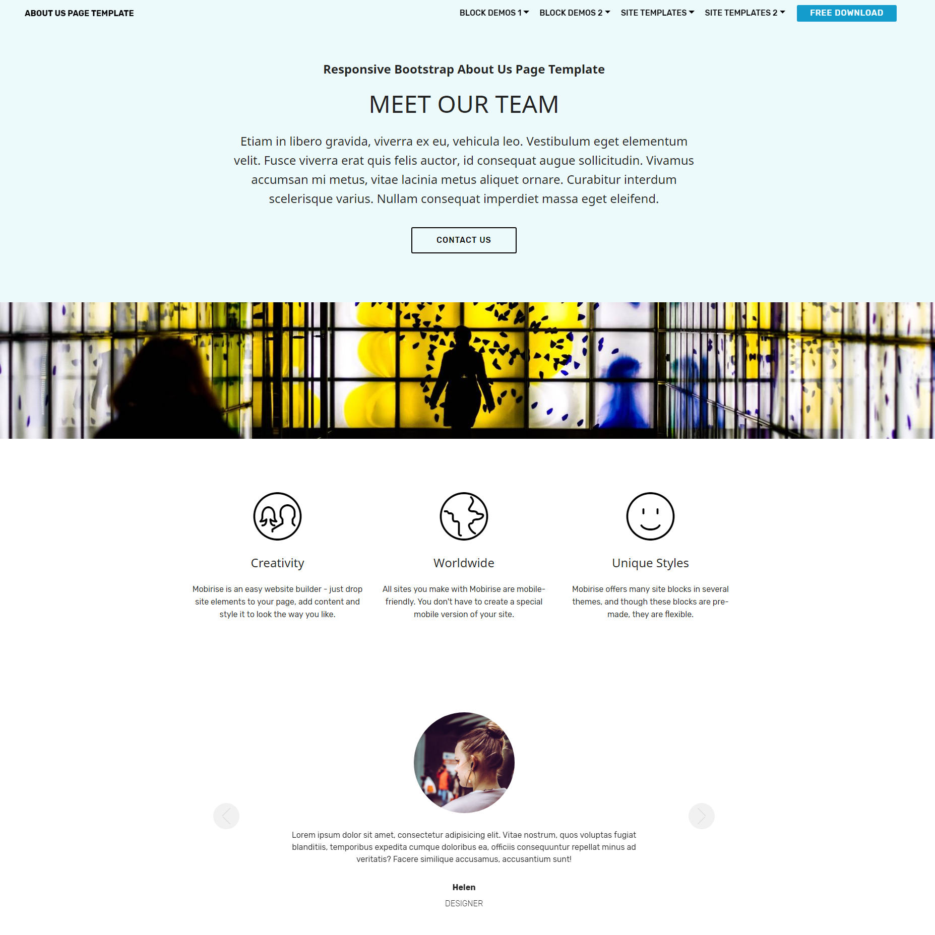 Free Bootstrap  About Us  Templates